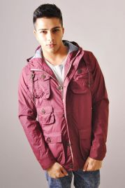 Lightweight Pocket Jacket In Burgundy